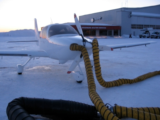 Warming the oil during a freezing day at Goose Bay.