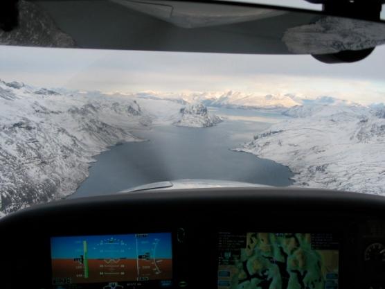 "Heading into Narsarsuaq, passing ""Simons Rock""."